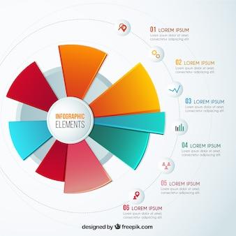 Tarte coloré tableau infographique
