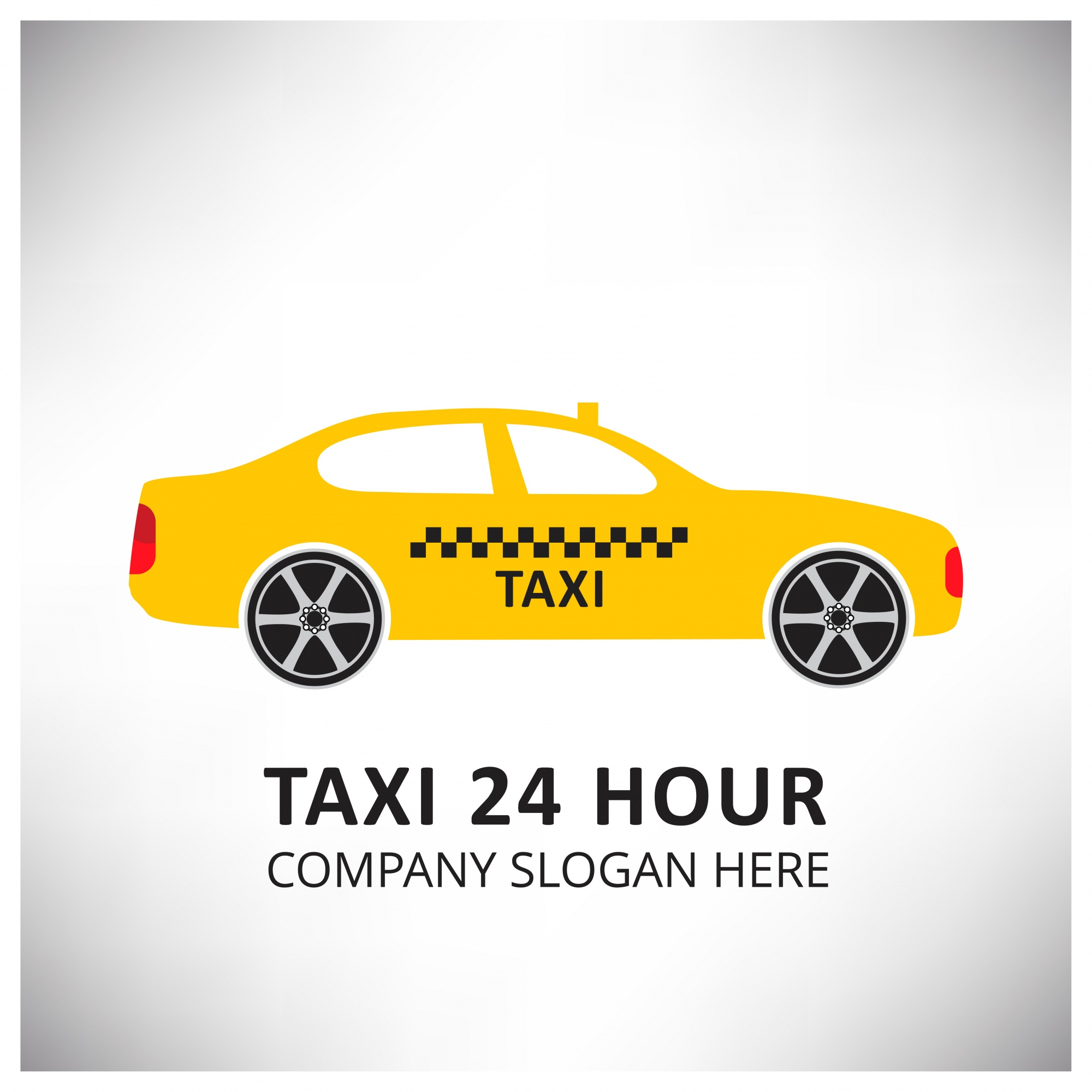 Taxi Icon Taxi Service 24 Hour Serrvice Yellow Taxi Car Fond blanc et gris