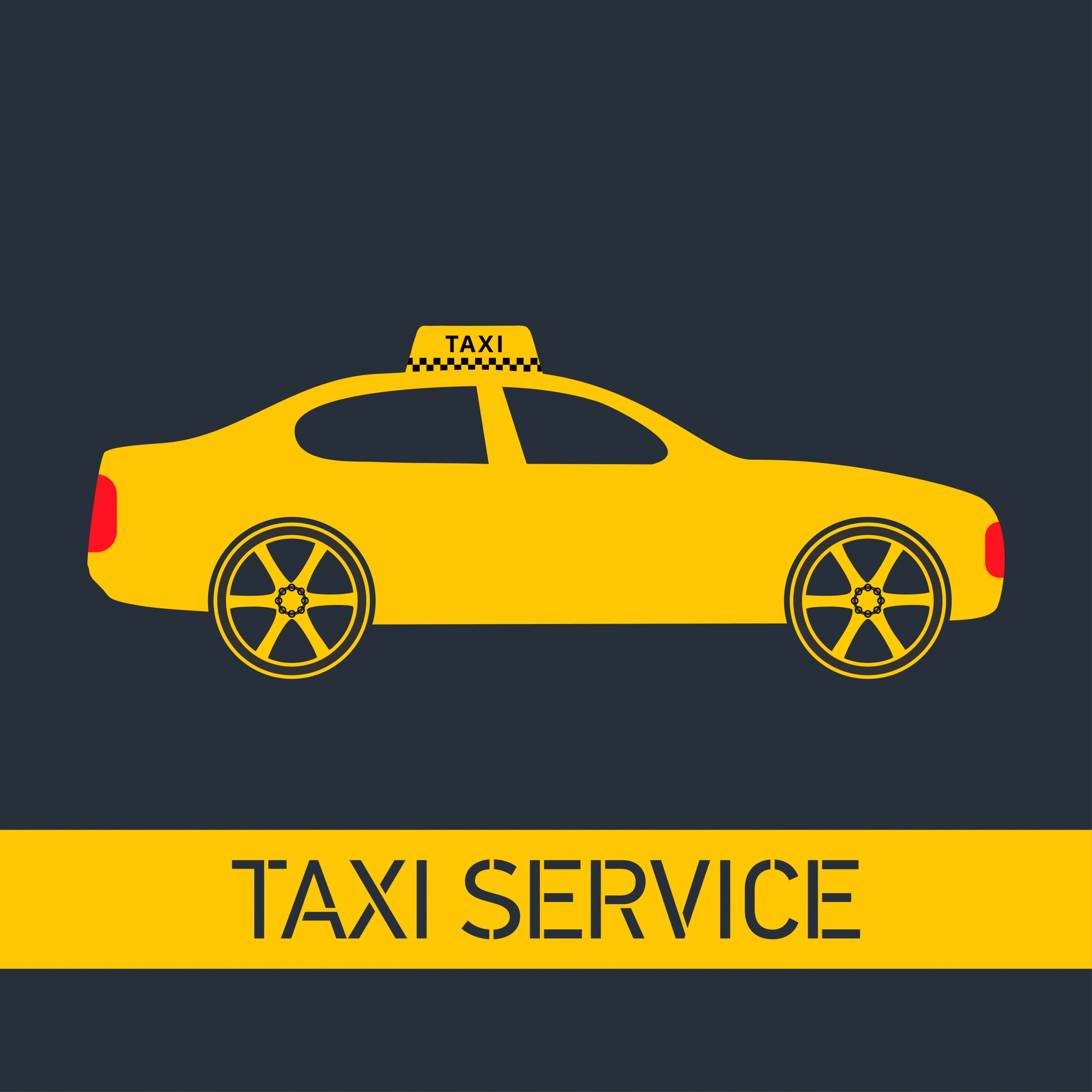 Taxi Icon Taxi Service Yellow Taxi Car Gray Background