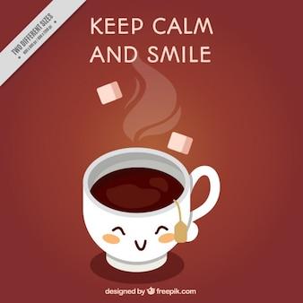 Tea cup fond avec la phrase positif