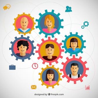 Teamwork concept avec des engrenages