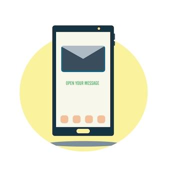 Téléphone avec texte ouvrez votre message