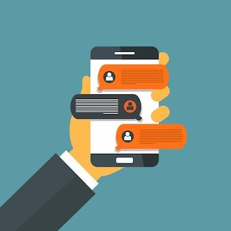 Téléphone intelligent avec notifications de message de chat