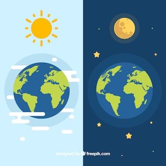 Terre avec le soleil et la lune