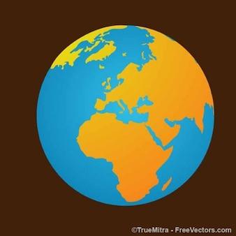 Terre carte sur fond brun