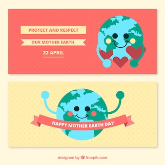 Terre mère pointillées bannières jour avec planète terre mignonne