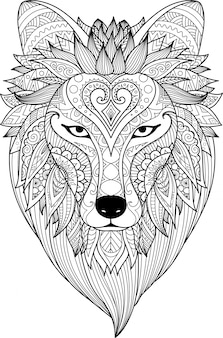 Tête de lion tracée à la main