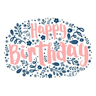 Texte Joyeux anniversaire avec motif floral dans la conception de forme ovale