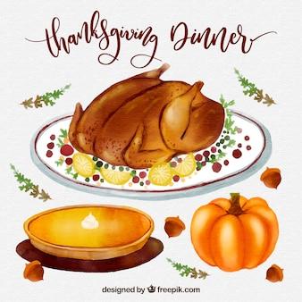 Thanksgiving aquarelle ensemble d'aliments