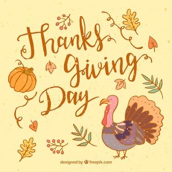 Thanksgiving lettrage avec dinde dessinés à la main