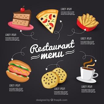 Tiré par la main le menu de restaurant à tableau noir