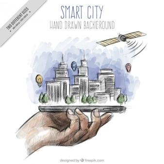 Tiré par la main aquarelle main avec un arrière-plan de la ville moderne