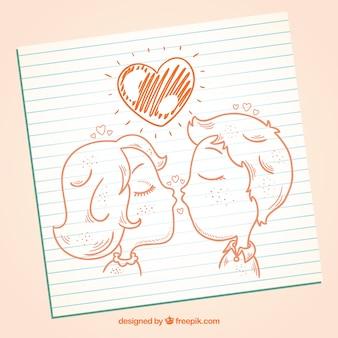 Tiré par la main couple baisers
