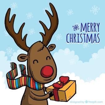 Tiré par la main de renne de Noël