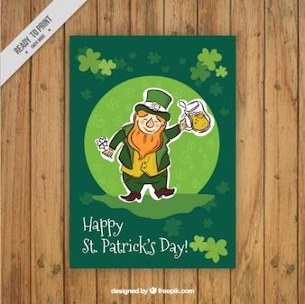 Tiré par la main elfe ST. carte du jour de Patrick