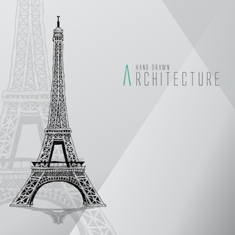 Tour Eiffel dessinée à la main