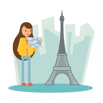 Tour eiffel paris france voyage vacances personnage de dessin animé
