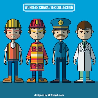 Travailleurs tirés collection de caractères à la main