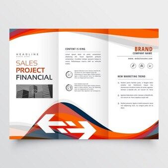 Trifold conception de la brochure avec attrayante forme ondulée abstraite
