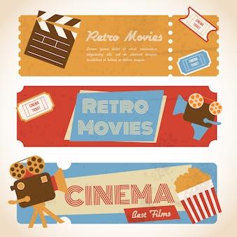 Trois bannières de cinéma rétro