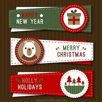 Trois bannières de Noël irrégulières dans le style vintage