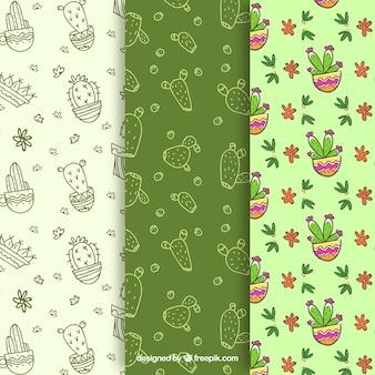 Trois motifs de cactus