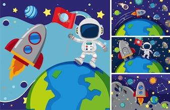 Trois scènes avec des astronautes dans l'espace