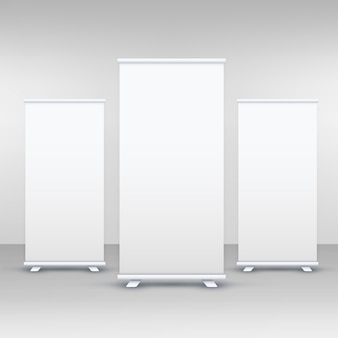 Trois standee ou rollup banner display mockup