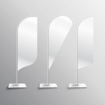 Trois symboles publicitaires flag flag mockup vector
