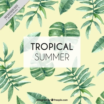 Tropical background avec des feuilles d'aquarelle
