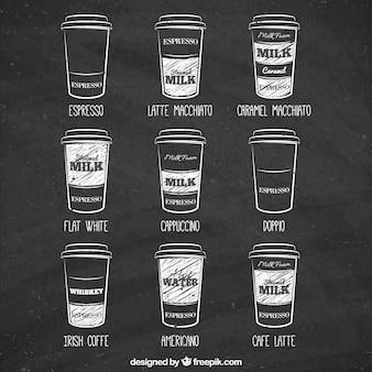 Type de cafés dessiné à la main sur le tableau noir
