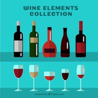Types de bouteilles de vin avec des lunettes en design plat