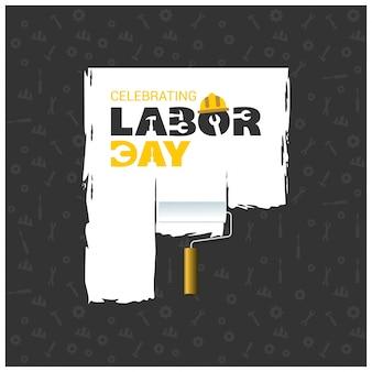 Typographie créative de la Journée du travail heureuse sur fond de motif noir