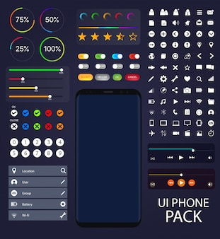 UI Moblie Phone Collection | Composants de l'interface utilisateur Composants vectoriels Mock-up