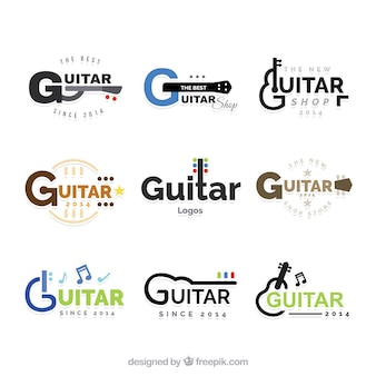 Une grande collection de logos de guitare avec des éléments de couleur