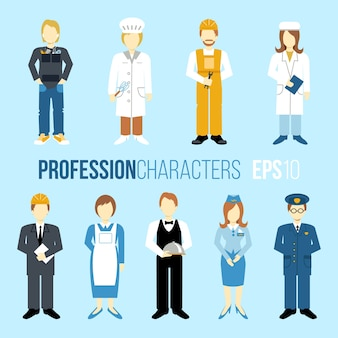 Uniformes de différentes professions