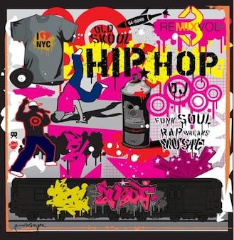 Urbaine hip-hop éléments vectoriels graffitis