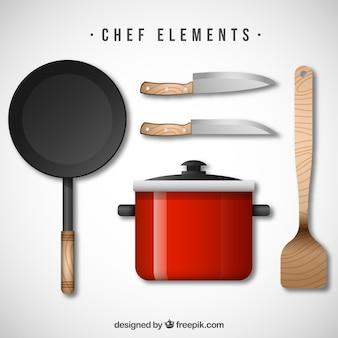 Ustensiles de cuisine au style réaliste