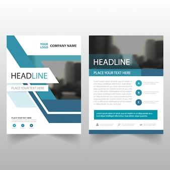 Utile modèle de brochure avec des formes géométriques bleu