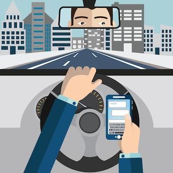 Utilisation du téléphone portable tout en conduisant l'illustration vectorielle.
