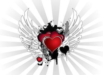 Valentine Hearts grunge