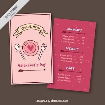 Valentine modèle de menu avec le ruban et les flèches