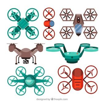 Variété colorée de drones plats