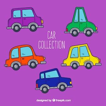 Variété colorée de voitures drôles