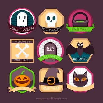 Variété colorée des étiquettes halloween