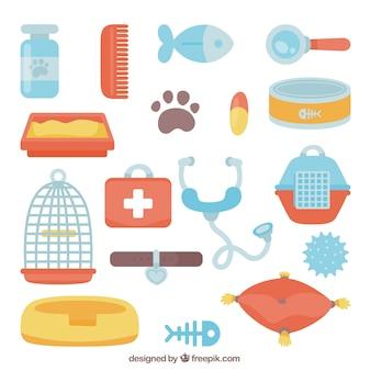 Variété d'accessoires pour animaux dans le style plat