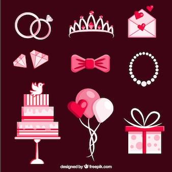 Variété d'éléments de mariage colorés en conception plate