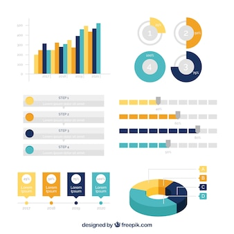 Variété d'éléments infographiques utiles dans la conception plate