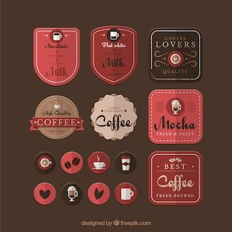 Variété de badges de café