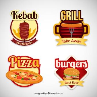 Variété de badges de restauration rapide